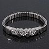 Silver Plated Swarovski Crystal 'Heart' Flex Tennis Bracelet - 20cm Length