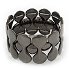 Polished Black Tone Geometric Flex Bracelet - 18cm Length