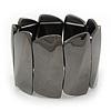 Wide Polished Black Tone Bar Flex Bracelet - 19cm Length