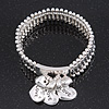 Silver Plated 'Love' Heart Charm Flex Bracelet - 19cm Length