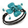 Turquoise Bead Floral Wired Flex Bracelet - Adjustable
