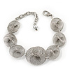 Silver Plated 'Wired Circles' Bracelet - 18cm Length/ 5cm Extension