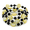 Acrylic & Shell Bead Coil Flex Bangle Bracelet (Lime Green and Black) - Adjustable
