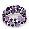 Acrylic & Shell Bead Coil Flex Bangle Bracelet (Violet and Black) - Adjustable