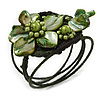 Olive/Green Shell Bead Flower Wired Flex Bracelet - Adjustable