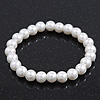 Classic White Simulated Glass Pearl Flex Bracelet - 8mm diameter/Up to 20cm Length