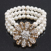 Vintage Multistrand White Simulated Glass Pearl 'Flower' Flex Bracelet - up to 20cm Length