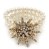 Multistrand White Simulated Glass Pearl 'Star' Flex Bracelet - up to 20cm Length