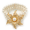 Multistrand White Simulated Glass Pearl 'Flower' Flex Bracelet - up to 20cm Length