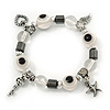 Evil Eye Black/White Acrylic Bead Protection Stretch Bracelet In Burn Silver - 9mm Diameter - Adjustable
