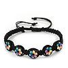 Multicoloured/Black Floral Wooden Friendship Style Cotton Cord Bracelet - Adjustable