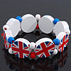 UK British Flag Union Jack Stretch White  Wooden Bracelet - up to 20cm length