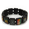 "Black Bob Marley ""One Love"" Wooden Stretch Bracelet - up to 20cm length"