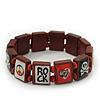 Brown Wood 'Heart, Rock, Peace & Skull' Flex Bracelet - up to 20cm Length