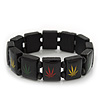 Black Wooden 'Hemp Leaf' Stretch Bracelet - Adjustable