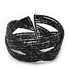 Boho Black/ Anthracite Grey Glass Bead Plaited Flex Cuff Bracelet - Adjustable