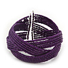 Boho Purple Glass Bead Plaited Flex Cuff Bracelet - Adjustable
