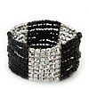 Multistrand Black Glass/ Silver Acrylic Bead Stretch Bracelet - 18cm Length