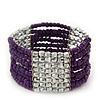 Multistrand Purple Glass/ Silver Acrylic Bead Stretch Bracelet - 18cm Length
