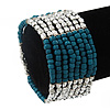 Multistrand Teal Glass/ Silver Acrylic Bead Stretch Bracelet - 18cm Length