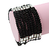 Multistrand Black Glass/Silver Acrylic Bead Flex Bracelet - 19cm Length