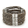 Multistrand Beige Grey Glass/Silver Acrylic Bead Flex Bracelet - 19cm Length