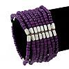 Multistrand Purple Glass/Silver Acrylic Bead Flex Bracelet - 19cm Length