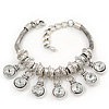 Silver Plated Chunky Crystal Bead Charm Bracelet - 17cm Length/ 4cm Extension