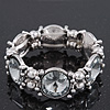 Vintage Crystal, Bead Stretch Bracelet In Burn Silver - 18cm Length