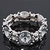 Vintage Crystal, Bead Stretch Bracelet In Burn Silver - 18cm Length