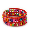 Teen's Brick Red Glass/ Multicoloured Wood Bead Multistrand Flex Bracelet - Adjustable