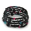 Teen's Black Acrylic Bead Multistrand Bracelet - Adjustable