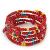 Teen's Tomato Red Acrylic Bead Multistrand Bracelet - Adjustable