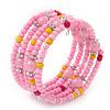Teen's Light Pink Acrylic Bead Multistrand Bracelet - Adjustable