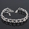 Classic Bridal Diamante Oval Link Bracelet In Rhodium Plated Metal - 17cm Length/ 5cm Extension