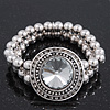 Burn Silver Metal Bead 'Watch' Style Flex Bracelet - 18cm Length