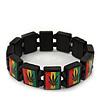 'Hemp Leaf' Black Wood Bob Marley Style Stretch Bracelet