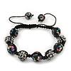 Black Acrylic/Diamante Bead Children/Girls/ Petites Teen Buddhist Bracelet On Black String - Adjustable