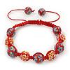 Brick Red Acrylic/Diamante Bead Children/Girls/ Petites Teen Buddhist Bracelet On Red String - Adjustable