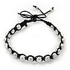 Plaited Black Cotton Cord With Silver Tone Bead Friendship Bracelet - Adjustable