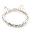 Plaited Light Cream Cotton Cord With Silver Tone Bead Friendship Bracelet - Adjustable