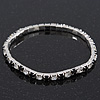 Slim Black/Clear Diamante Flex Bracelet In Silver Plating - 18cm Length