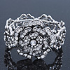 Vintage Crystal Rose Flex Bracelet In Burn Silver Metal - Up to 21cm Length