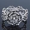 Vintage Crystal Rose Flex Bracelet In Burn Silver Metal - Up to 21cm Length