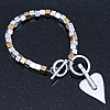 Two Tone Contemporary Heart Charm Bracelet With T-Bar Closure - 17cm Length