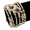 Vintage Style 'Daisy' Glass&Ceramic Bead Coil Flex Bracelet - Light Cream
