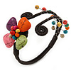 Multicoloured Polished Stone Flower Wire Flex Bracelet - Adjustable