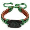 Unisex Dark Brown/ Green Leather 'Peace' Friendship Bracelet - Adjustable