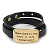 Black Leather Gandhi Quote Wrap Bracelet (Gold Tone) - Adjustable - One size fits all