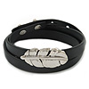 Black Leather Feather Wrap Bracelet (Silver Tone) - Adjustable - One size fits all